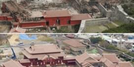 Eeuwenoud Shuri-kasteel in de as na verwoestende brand