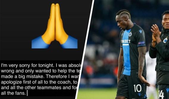 Club Brugge-spits Diagne biedt excuses aan na penaltyklucht tegen PSG: 'Ik was absoluut verkeerd'