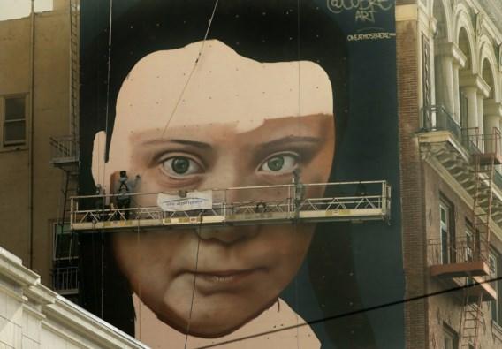 Greta Thunberg wordt een muurschilderij