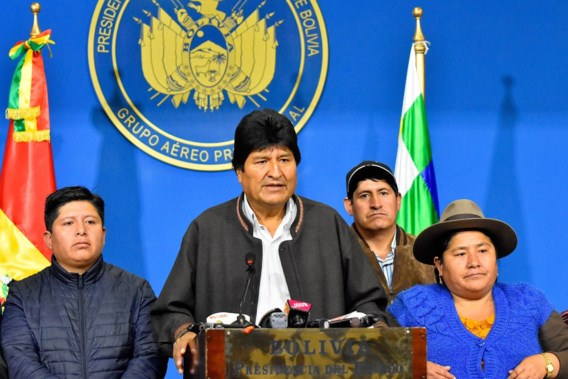 De Boliviaanse president Evo Morales stapt op