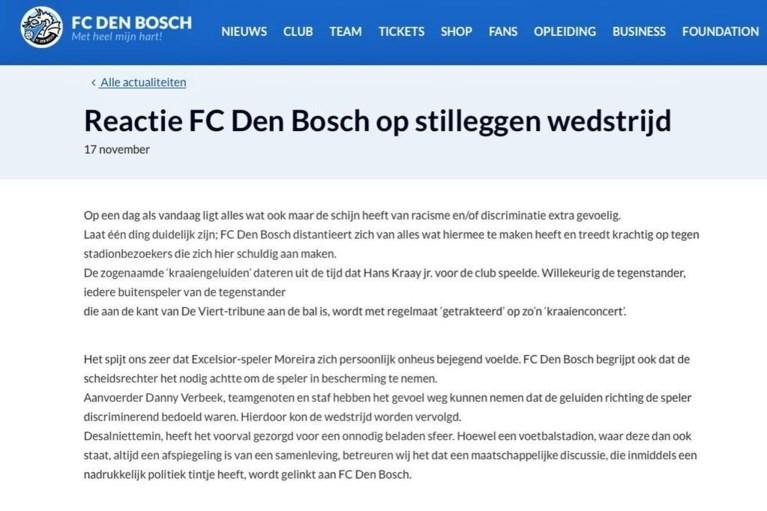 FC Den Bosch biedt dan toch excuses aan na racismerel: 'We hebben de plank volledig misgeslagen'