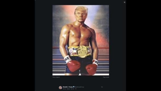 Trump tweet bizarre foto van zichzelf als Rocky