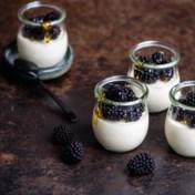 Panna cotta van yoghurt met bramen