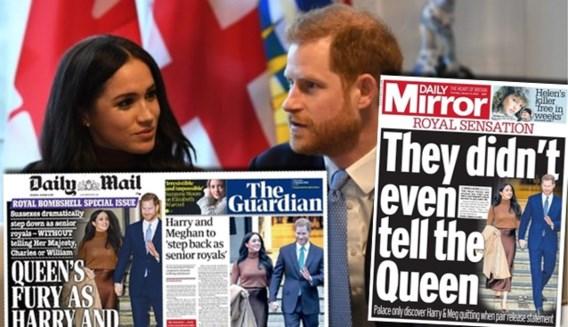 Britse kranten over 'Megxit' van Harry en Meghan: 'Bedroefde Queen wist van niets, Charles en William zijn woedend'