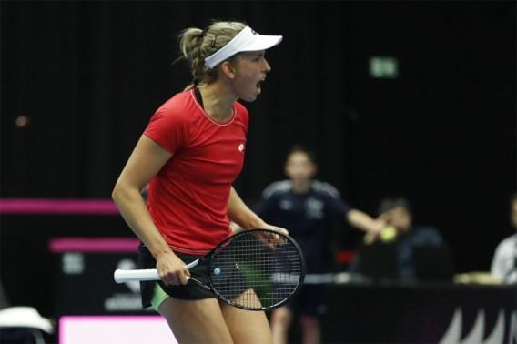 Eerst schutteren, dan schitteren: Elise Mertens brengt België op 1-0 tegen Kazachstan in Fed Cup