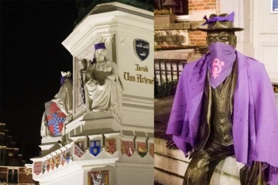 Activisten blinddoeken Gentse standbeelden: 'Tegen seksisme en ongelijkheid'
