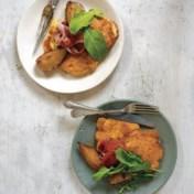 Bloemkool-pecorinobeignets met gebakken peren
