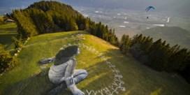Kunstwerk met uitzicht op Zwitserse Alpen