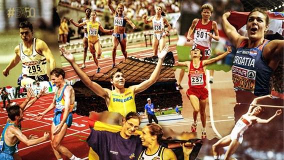 Kim Gevaert en Tia Hellebaut sieren affiche '50 Golden Moments' van Europese atletiek