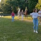Politie te paard volgt lesje salsa mee in Den Haag