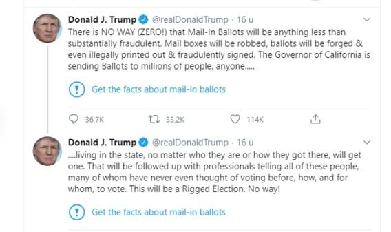 Twitter plaatst factcheck bij tweets van Donald Trump