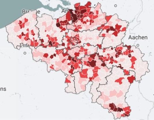 Kaart. 226 gemeenten overschrijden alarmdrempel, zoveel nieuwe besmettingen telt uw gemeente