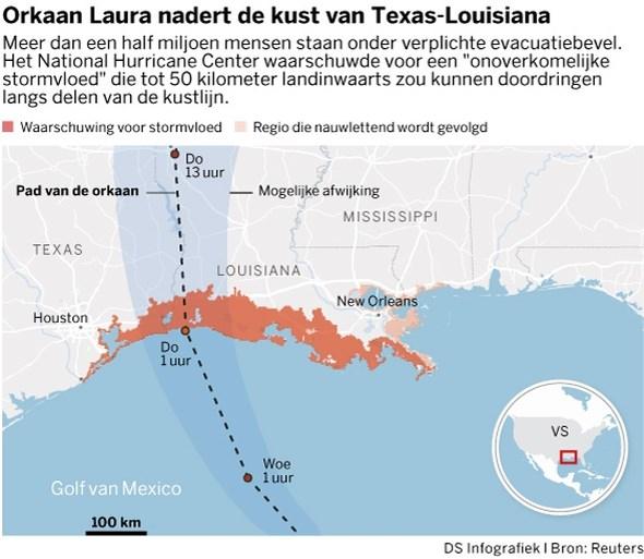 Orkaan Laura eist eerste dodelijk slachtoffer