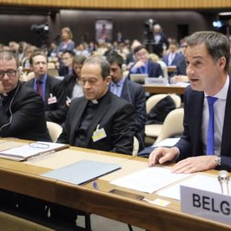 Alexander De Croo, toen hij België nog vertegenwoordigde op een VN-zitting.