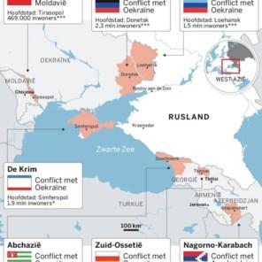 De rafelrand van nepstaatjes rondom Rusland