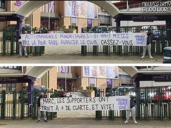 Anderlecht-fans eisen onderhoud met Coucke en Vandenhaute