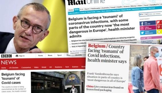 Vandenbroucke duikt op in buitenlandse pers met 'tsunami aan Belgische besmettingen'