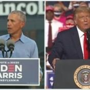 Obama en Trump spotten met elkaar tijdens campagne