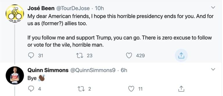 Trek-Segafredo sluit Quinn Simmons weer in de armen na Twitter-incident over Donald Trump
