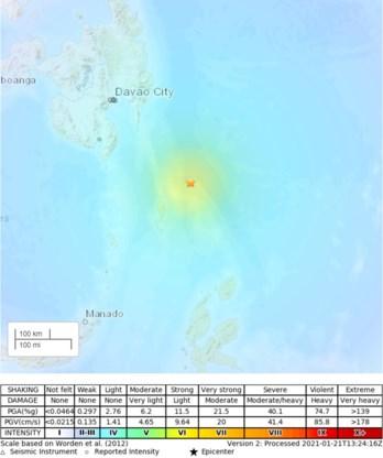 Zware aardbeving tussen Indonesië en Filipijnen