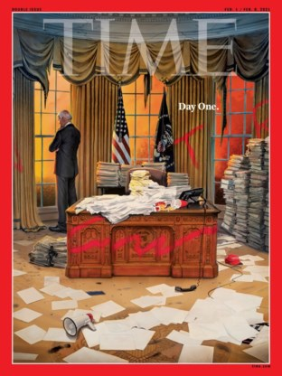 Cover 'Time Magazine' toont geplunderd Oval Office