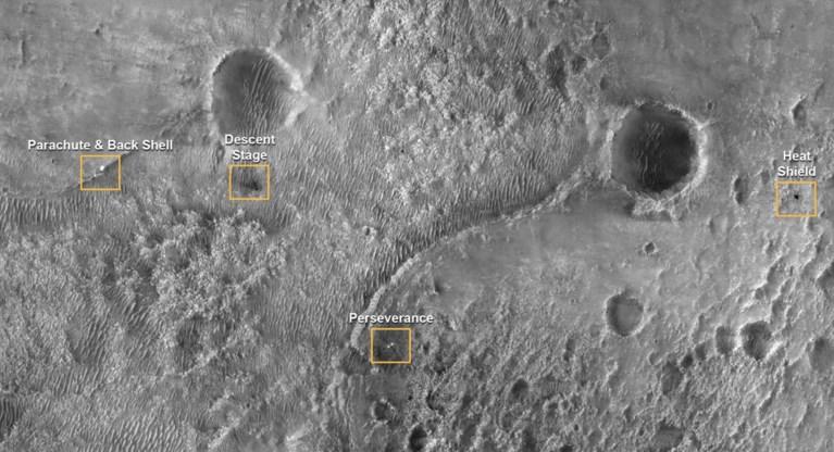 Nasa verspreidt unieke videobeelden van landing Perseverance op Mars