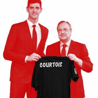 Thibaut Courtois met Real-voorzitter Perez