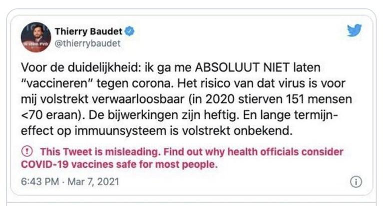Twitter labelt tweet van Thierry Baudet als misleidend