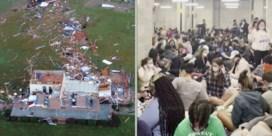 Drone filmt ravage na tornado, studenten verzamelen in schuilkelder