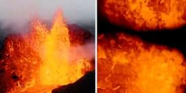 Drone smelt weg boven uitbarsting IJslandse vulkaan