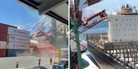 Kraan stort neer na botsing met containerschip in Taiwanese haven