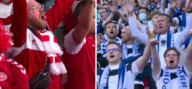 Deense en Finse voetbalfans laten samen 'Christian Eriksen' door stadion galmen