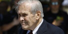 Donald Rumsfeld, verguisde pleitbezorger van de oorlog in Irak