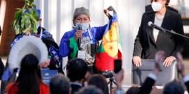 Mapuche-vrouw houdt pen van Chili's nieuwe grondwet vast
