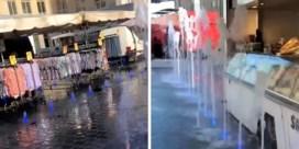 Fonteinen spuiten opnieuw kraampjes nat tijdens wekelijkse markt