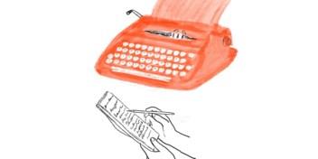Het geratel van moeders schrijfmachine