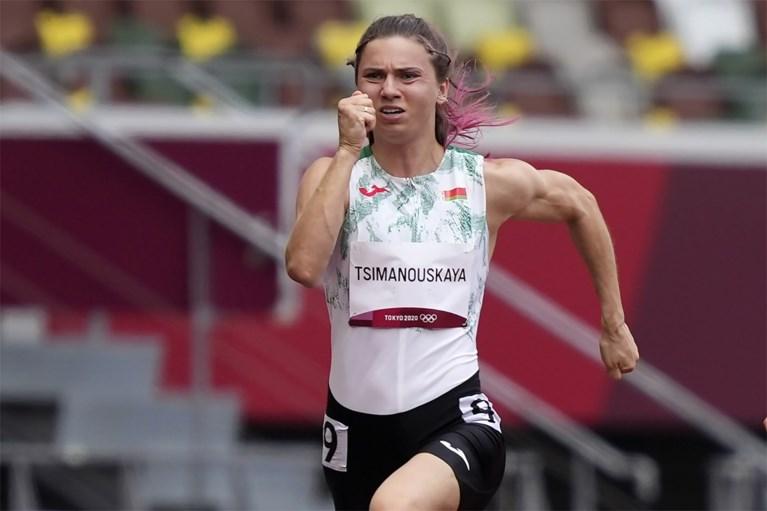 Wit-Russische sprintster op het vliegtuig naar Wenen