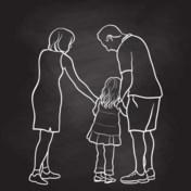 Ex-partners Karen en Floris, en kinderen, over 9 jaar birdnesting